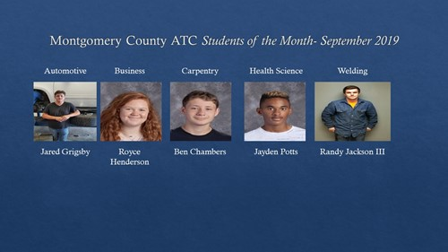 Montgomery County Area Technology Center September Student of the Month 2019