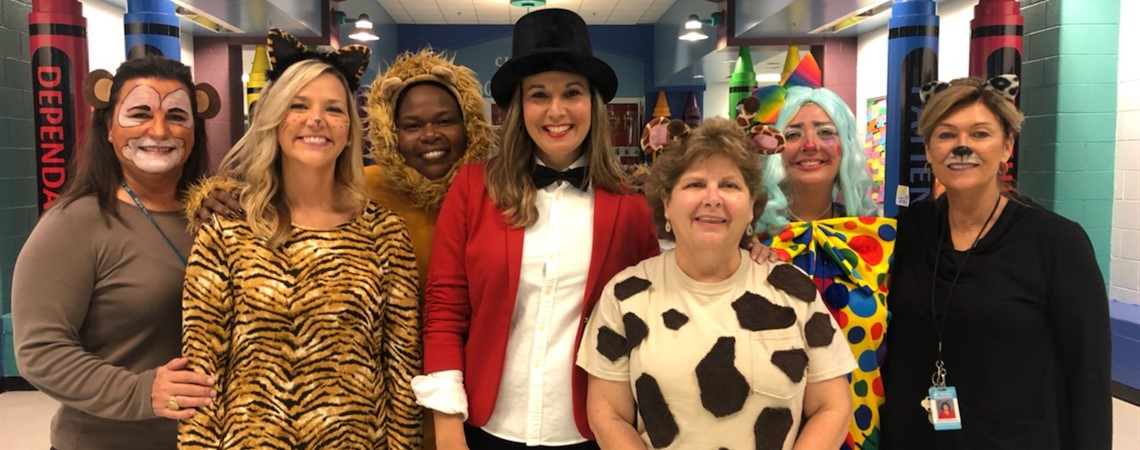 Ringmaster Holley with her clown and animals!