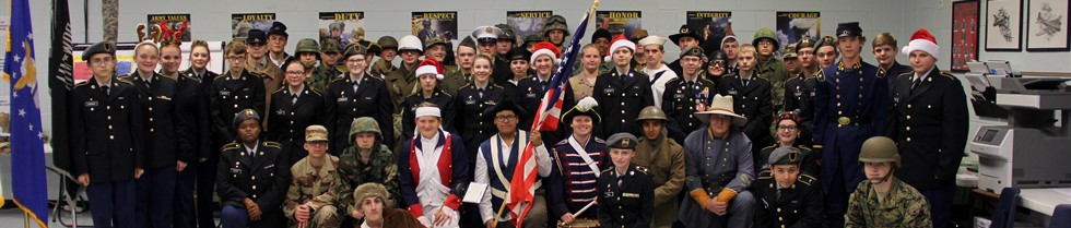 Cadets dressed in uniform, some in era uniforms, for Mt. Sterling's annual Christmas parade.