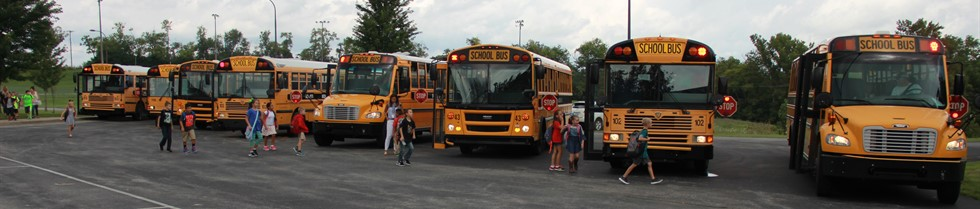 Students loading buses.