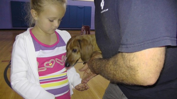 Leigh Ann Florence with Woody the Kentucky Wiener Dog