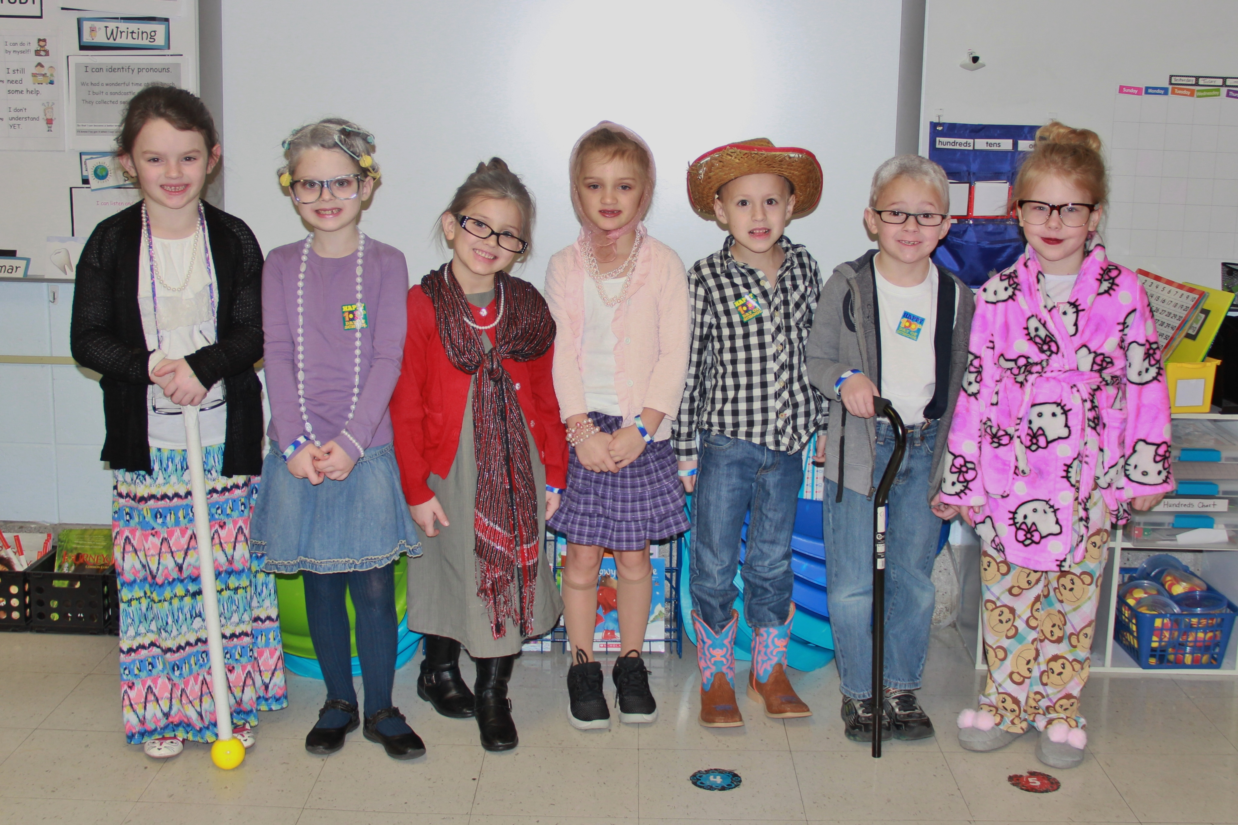 Students in Mrs. Mills' class dressed up for the 100th day of school!