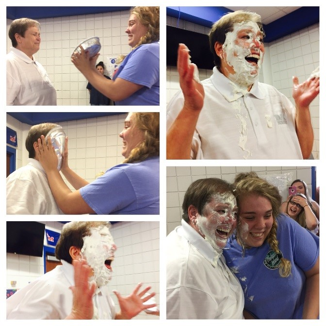 Sidnie Goodwin won the chance to pie Ms. Stafford, Principal, for having the fastest breakout time of the night of 5 mins, 50 seconds!