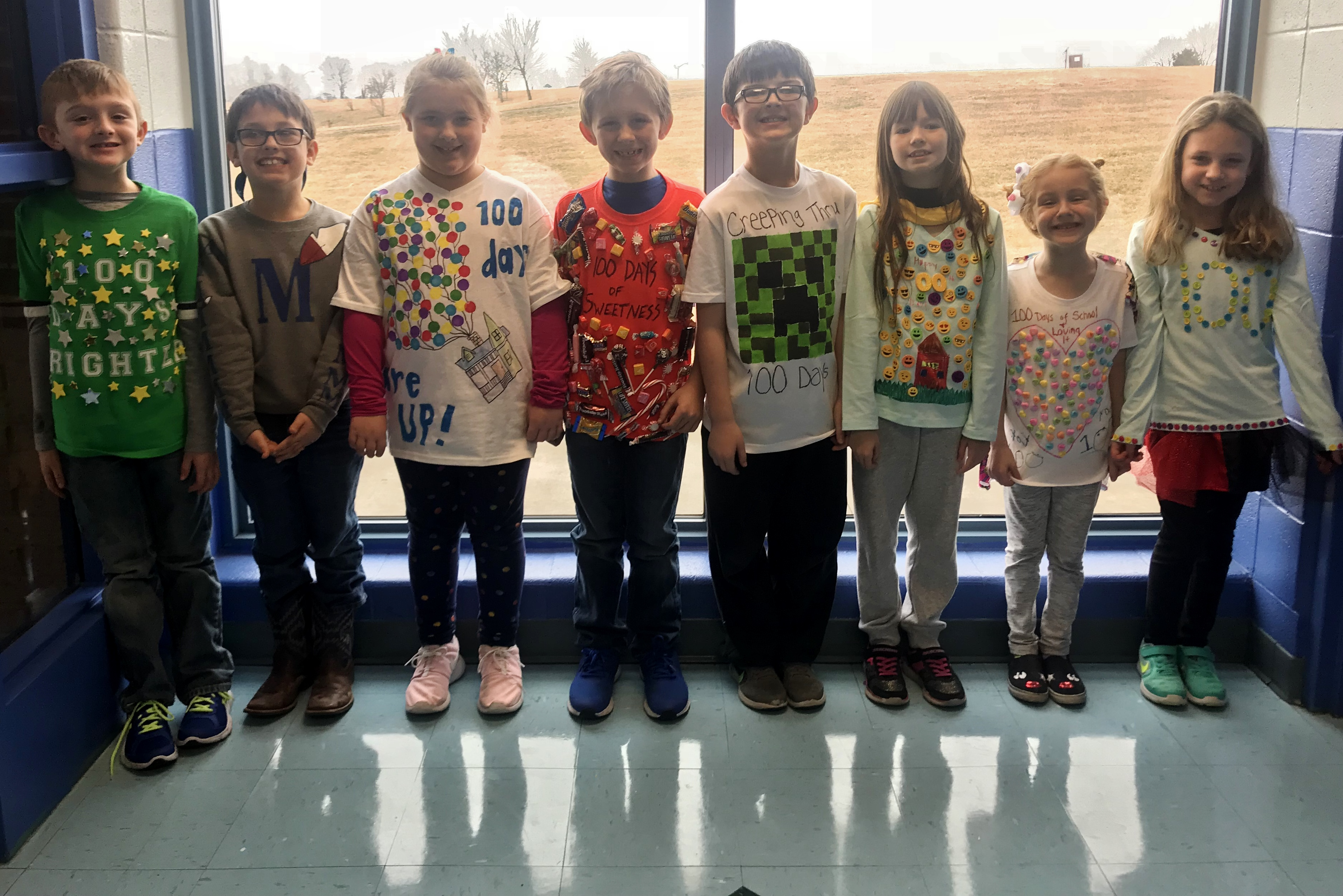 MSE students dressed in their 100th day of school shirts.