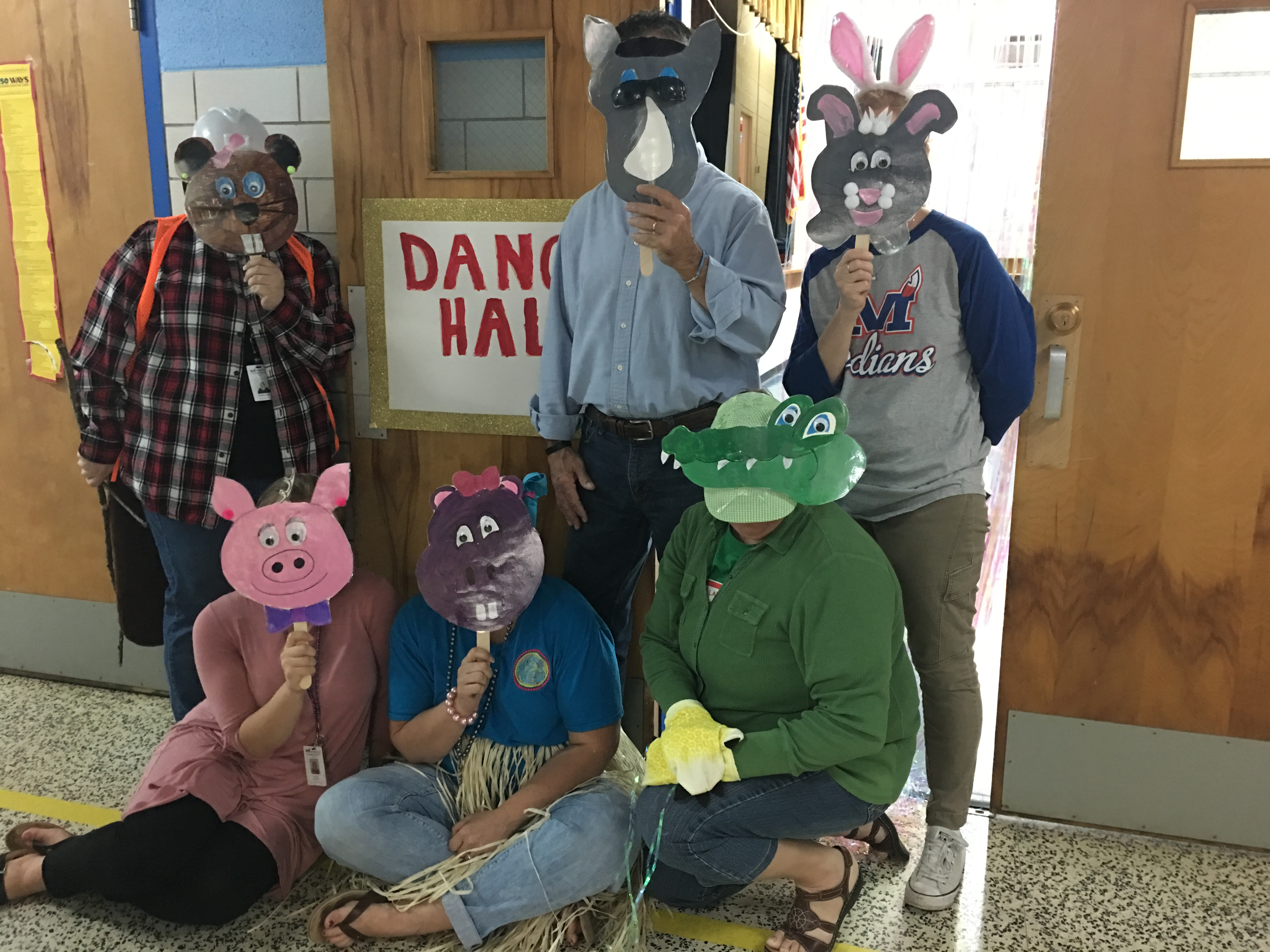 Staff dressed up as characters from the book Dance.