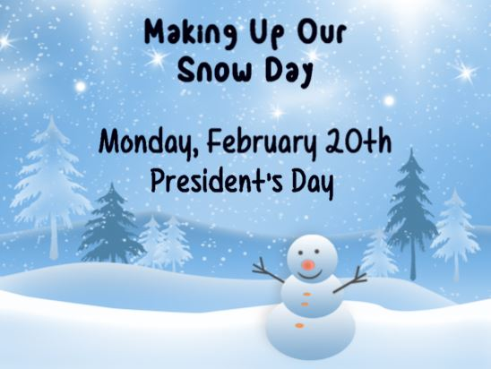 Monday, February 20, 2017 (President's Day) will be a student instructional day.