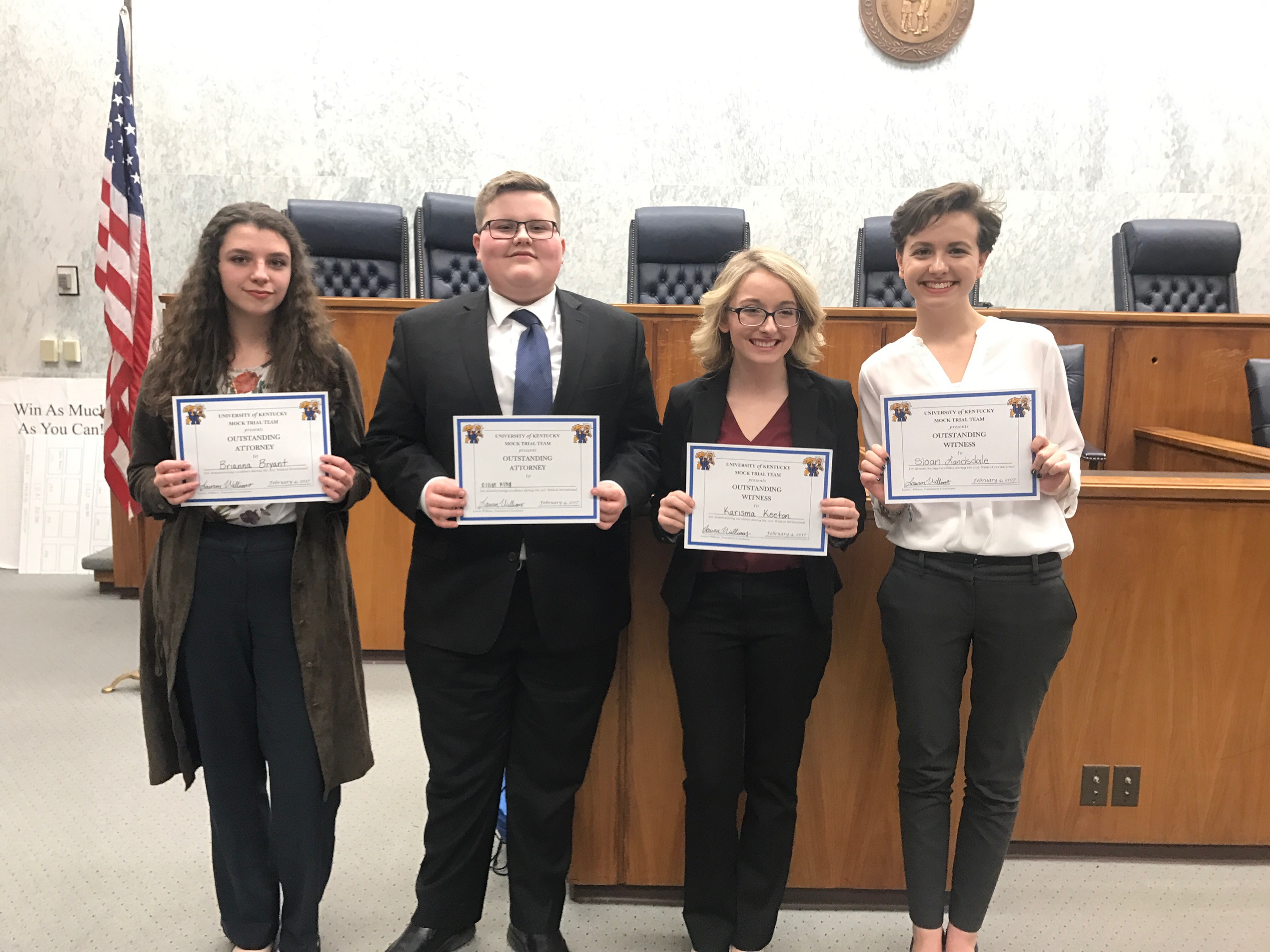 (From Left to Right) Brianna Bryant (Outstanding Plaintiff witness), Elliot King (Outstanding Defense Attorney), Karisma Keeton (Outstanding Plaintiff Attorney) and Sloan Landsdale (Outstanding Defense Witness).