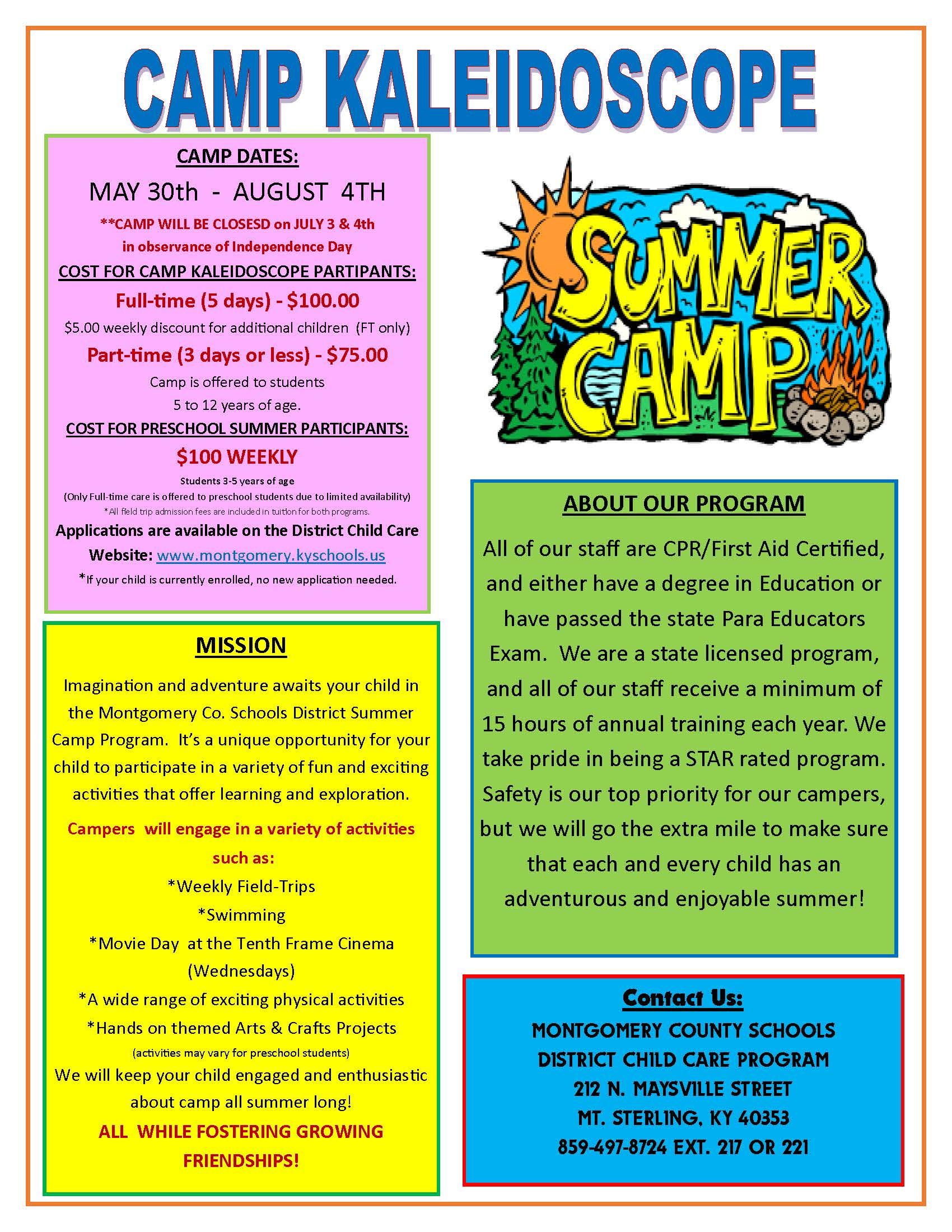 Summer Camp Newsletter